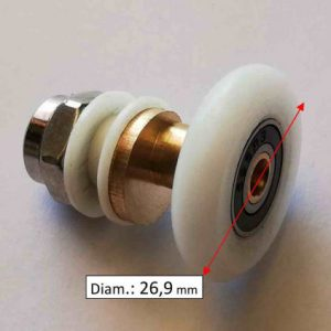 Roulette avec axe décalé en laiton et roue blanche