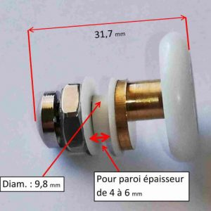 roulette de douche avec axe décalé en laiton et roue blanche