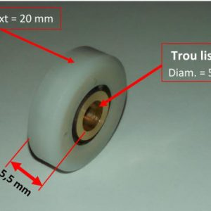 roulette porte de douche composée d'un roulement à billes enveloppé d'une bague en nylon de diamètre 20mm avec le contour plat et large de 5.5mm Au centre de cette roue il y a un trou lisse d'un diamètre de 5.3mm pour passer la vis de fixation. Le passage de la vis est fraisé d'un côté pour la forme conique de la tête de vis. Ce rouleau de remplacement pour roue de porte de douche et cabine est de haute qualité.