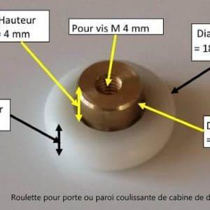 c'est une roulette pour glissière, elle est composée d'une bague en plastique avec un roulement à billes en son centre, un trou taraudé permet de la visser à une porte de douche ou cabine de douche