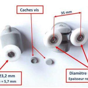une roulette de porte de douche avec roue blanche et une autre roulette de douche avec deux roues blanches