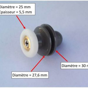 roulette de docuhe est un roulement à bille qui se monte sur la glissière d'une porte de douche