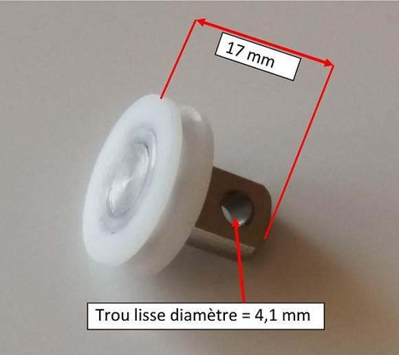 roulette de douche Roulement de roue ou rouleau de porte de douche de remplacement Poulie type U pour porte coulissante Utilisé pour remplacer le rouleau cassé ou grippé et usé Épaisseur de la roue : 5mm. Diamètre 19mm Matériau : Nylon + roulement à bille en acier Accessoires : pour écran et paroi de douche