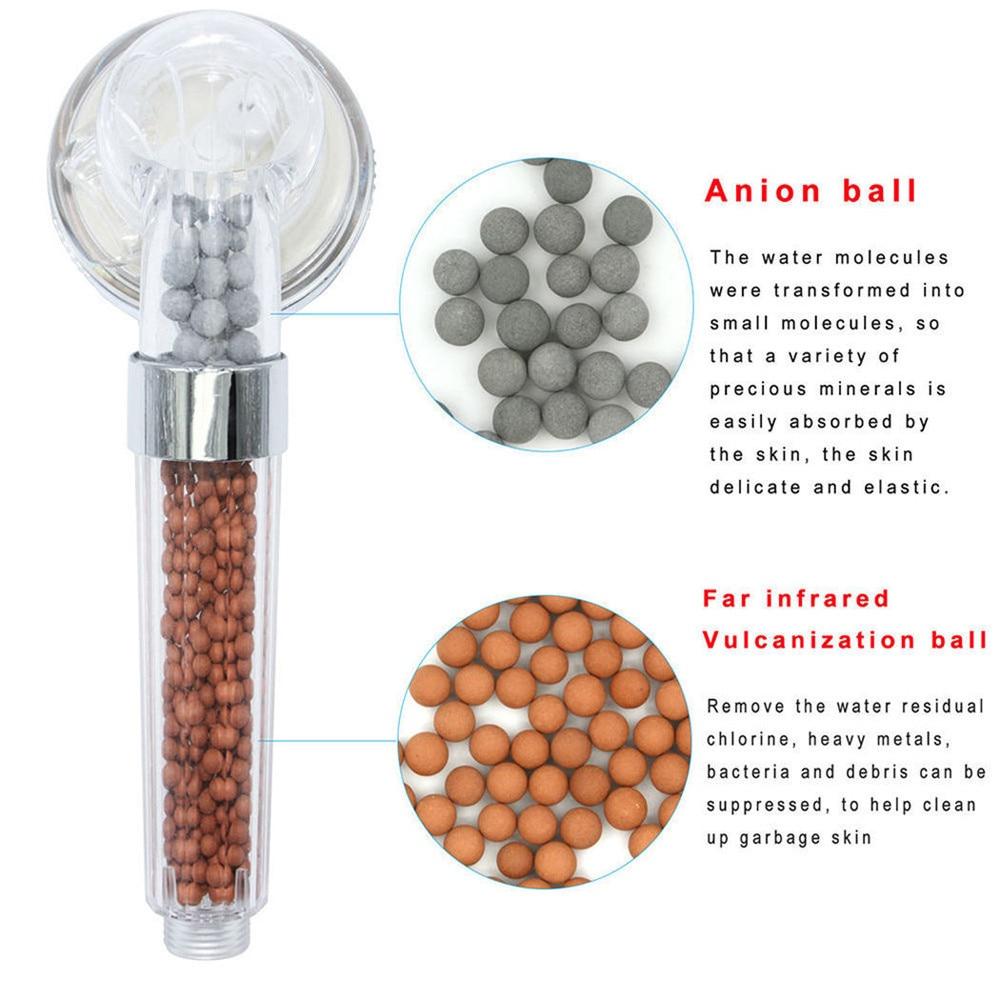 Pomme de douche haute qualité, bain, haute pression, économie d'eau, filtre, boules, perles, utilitaire, avec Ion négatif activé