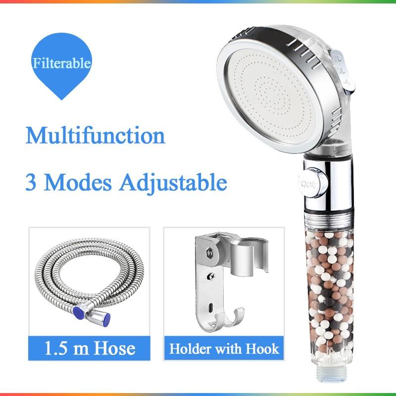 Pommeau de douche SPA 3 fonctions avec interrupteur bouton marche/off et filtre à anions, économie d'eau, salle de bain, haute pression, de bain