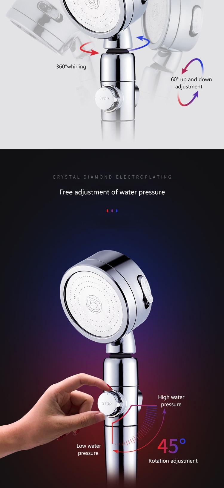 Pommeau de douche haute pression, élément filtrant, pulvérisateur multifonctionnel, économie d'eau, accessoires de salle de bains