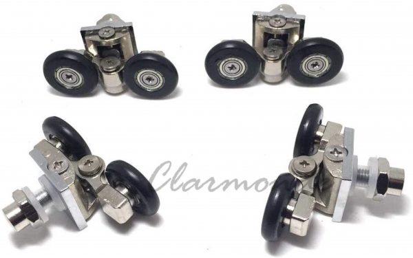 1/ Roulette double pour porte coulissante, paroi de cabine de douche, support de roulement de porte en alliage de Zinc, trou de passage de fixation : 8-10mm