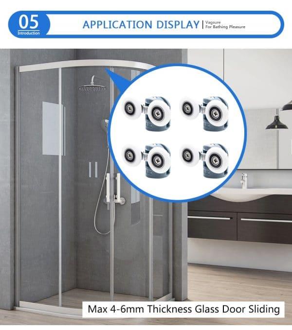 cabine de douche expliquant l'emplacement des roulettes hautes